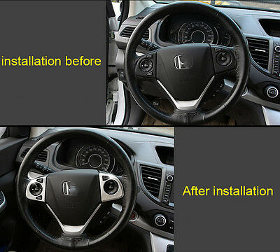 ABS Chrome Steering Wheel Cover Trim For Honda CRV CR-V 2012 2013 2014 2015 2016