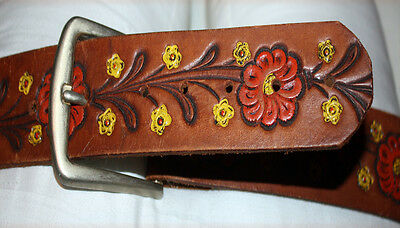 Genuine Hand-painted, Hand-tooled Leather Belt 1960's/1970's style vintage