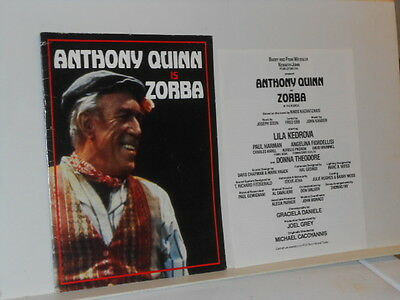 Vtg. 1980s Anthony Quinn is Zorba Program Book + +++