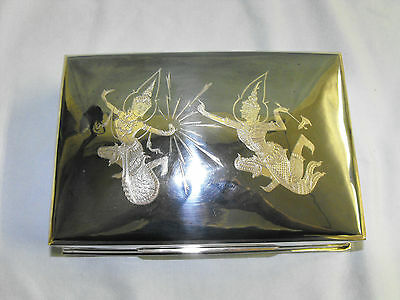 Siam sterling silver mans jewelry box,OAK,1965 Thailand,huge,stunning