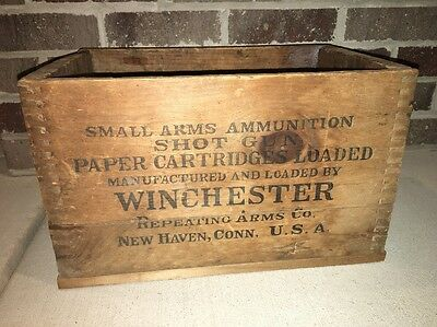 Vintage Antique Wood Crate Winchester Cartridges Amp Box 12 Gauge Dovetail