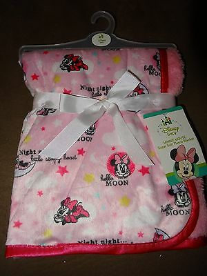 """Disney Baby Minnie Mouse Super Soft Fleece Baby Blanket-30""""X30""""-New With Tag"""