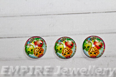 2 x Shopkins #2 12x12mm Glass Cabochons Cameo Dome