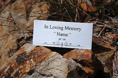 PET MEMORIAL Plaque Silver 10cm X 5cm CUSTOMISED with your Pet Name & Dates