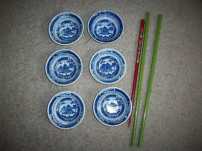 Vintage Blue Chinese Soy Sauce Dipping Butter Sushi Bowls +Mod Green Chop Sticks