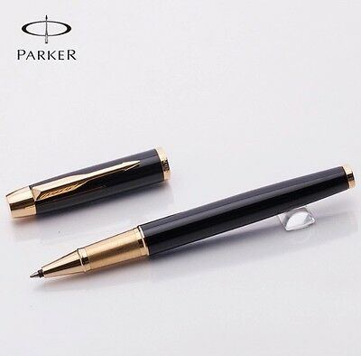 PARKER IM BLACK ROLLERBALL PEN WITH GOLD TRIM-no box
