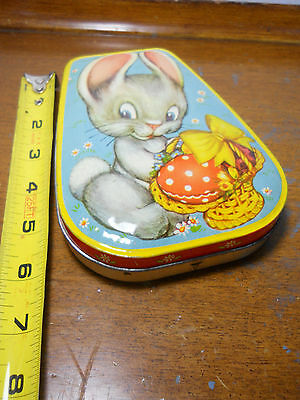 Vintage Horner England Easter Tin Candy Container Easter Bunny Basket
