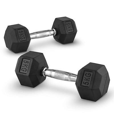 Dumbbell Weights Set Home Gym Cross-Training Body Building Fitness 2X 5 Kg