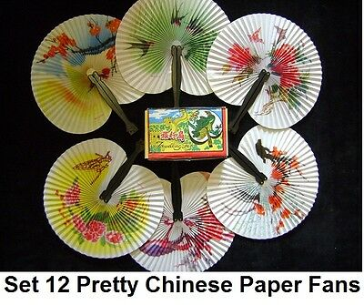 Folding Hand Fan Paper Toy Fans Set Pretty Chinese Pattern Wedding Party Dance