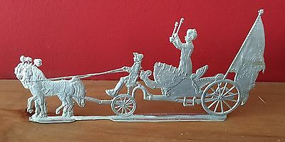 Amazing Artillery Drum Wagon Tin Unpainted Figurine Marked WU OHO
