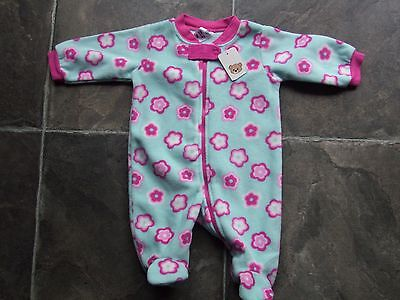 BNWT Baby Girl's Blue & Pink Floral Polar Fleece Coverall/Sleeper Size 000