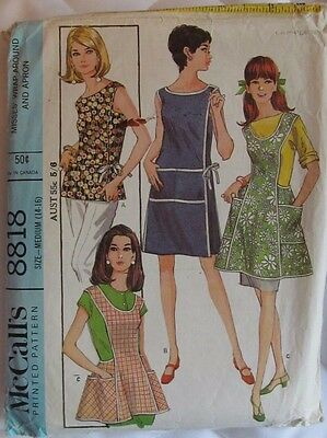 Vintage McCalls sewing pattern 8818 bust 34-36 apron 60s complete