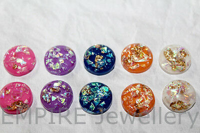 10 x Mixed Colours Gold Fleck Resin Dome Flatback 12x12mm Cabochon Cameo