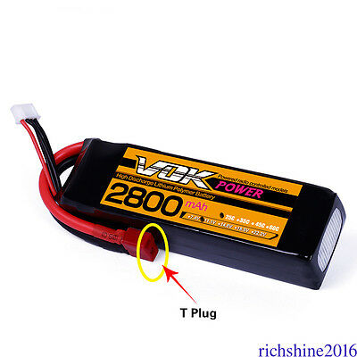 VOK T-Plug Discharger Lipo Battery 11.1V 3S 2800mAh 25C Universal For RC Drone