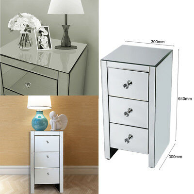 Mirrored Crystal Glass Bedside Lamp Table 3 Drawer Bedroom Cabinet Nightstand DE