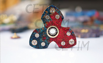CETIM Clover Fidget Hand Spinner Stabilized Maple Resin Burl Wood-Freeshipping