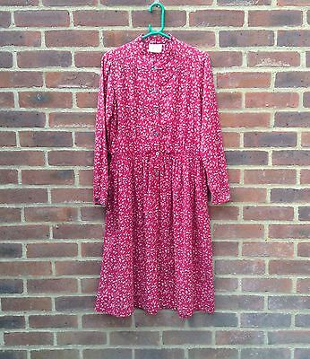 Vintage Original Laura Ashley Floral Long Sleeve Dress Made In Wales 14 Rare