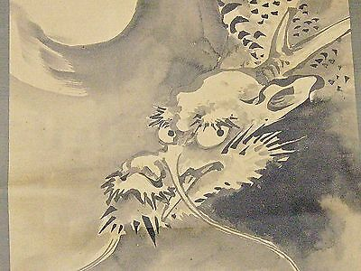 Kano Tomonobu - Japanese Hanging Scroll - Ink on Paper/Rain Dragon/Meiji Period