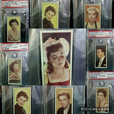 1955 BARBERS TEA CINEMA & T.V. STARS PSA Part Set (8) 8s & 9s Elizabeth Taylor