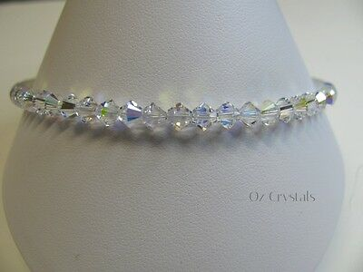 Anklet made with Swarovski Crystal AB, Heart Charm, Sterling Silver - 30 cm's