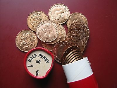 UK British 1966 Pre-decimal 50x 1/2 Half Penny UNC coins in red tube
