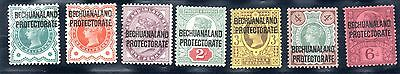 Bechuanaland. Victoria.  Set of 7 stamps,  1/2 penny - 6d.  SG No. 59 - 65  lmm