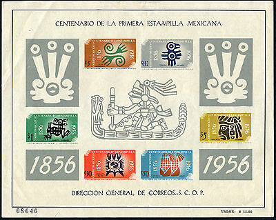 MEXICO 1956 Mexican Stamp Centenary, MINI SHEET,  MINT Never Hinged