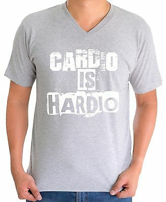 Gym V-neck T shirt Tops Cardio Is Hardio Men's Workout
