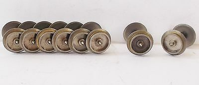 OO lot 11mm bright metal solid coach wagon wheels - pinpoint end - 8x axle sets