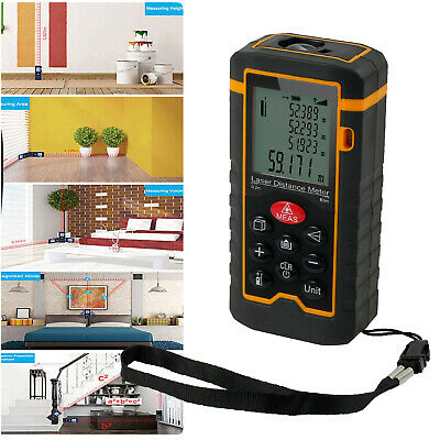 60M Digital Laser Distance Meter Measurer Area Volume Range Finder Tape Measure