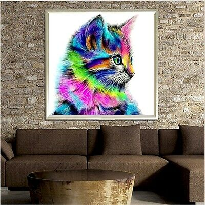 5D DIY Diamond Painting Colorful Cat Embroidery Cross Stitch Art Hanging Decor