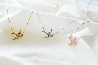 NEW Swallow Bird Pendant Charm Gold Silver Necklace Chain Jewelry Fashion Gift