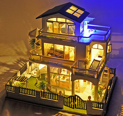 Dollhouse Miniature DIY House Kit With Furniture Idea Gift Impress of Vancouver