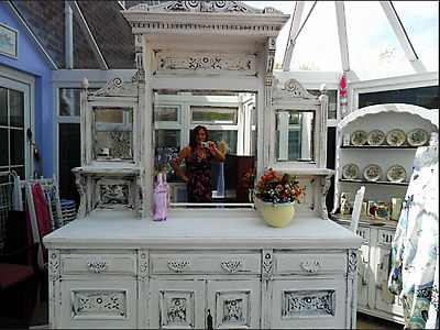 Shabby chic, vintage/ antique  sideboard with attached matching mirror top