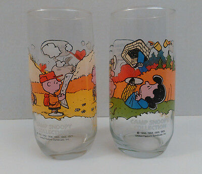Vintage McDonalds Peanuts Camp Snoopy Collection Collectible Glass charlie brown
