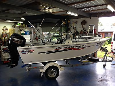 Quintrex Renagade SC Boat & Trailer 420 Mercury Motor, 50 HP Four Stroke As New