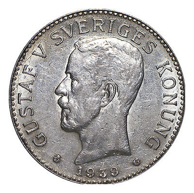 Sweden Silver Coin Gustaf V 1939 2 Kronor VF-EF or better