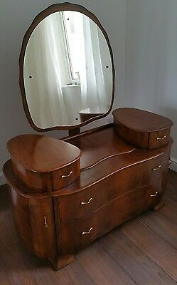 Vintage Walnut Burl Art Deco Style Dressing Table Dressing Chest of Drawers