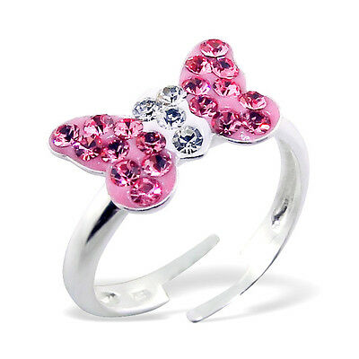 Girls Sterling Silver Light Pink Butterfly Ring Adjustable Crystal Children 925