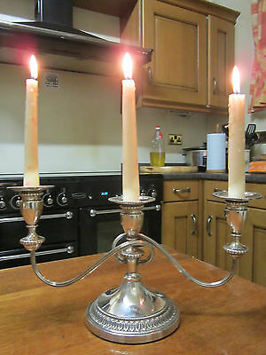 Old Antique Regency Style Viners Silver Plate 3 Branch Candelabra English c1970