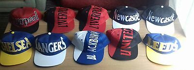 Football hats Job Lot Bulk  Manchester United ,Liverpool,Leeds,Newcastle,Chelsea