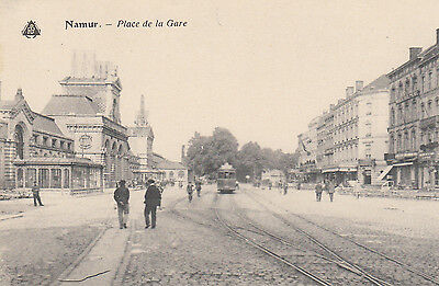 OLD P/C  PLACE DE LA GARE, NAMUR, BELGIUM    c1905  PEOPLE  TRAM SHOPS
