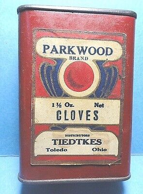 """Vintage """"PARKWOOD."""" Brand Paper Label Cloves Spice Tin   FREE SHIPPING"""