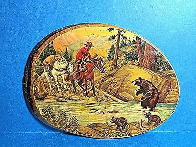 Vintage Cowboy and Mama Bear with Twi Bear Cubs Catching Fish Wood Wall Plaque