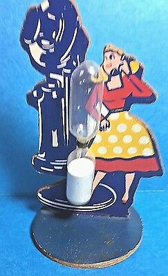 """Vintage Rare Wooden Telephone """"Lady"""" Sand Egg Timer  Free Shipping"""