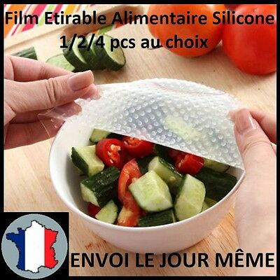Film Étirable Silicone Alimentaire 20x20cm 1/2/4 Pièces Couvercle Emballage NEW