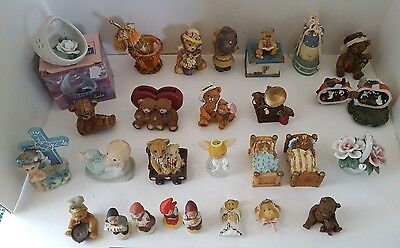 Vintage Asst. Lot of 25 Ceramic or Resin Figurines & 2 Pins