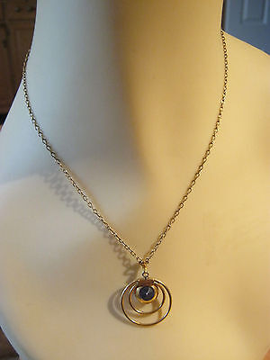 Vintage Cellincraft gold filled pendant necklace, blue stone set in circles