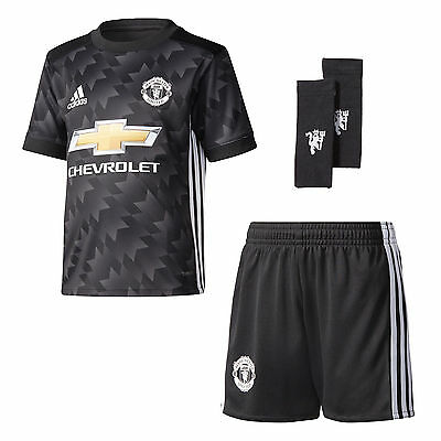 adidas Manchester United 2017/18 Kids Junior Mini Away Football Kit Black