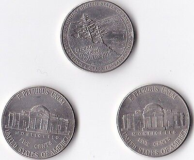 3 x USA Commemorative and Normal 5 Cent Coins